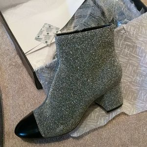 Silver and black booties